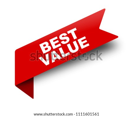 red vector banner ribbon best value