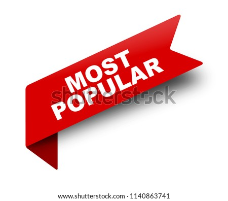 red vector banner ribbon most popular