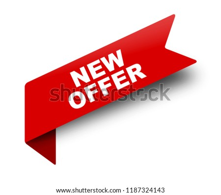 red vector banner ribbon new offer Foto stock ©