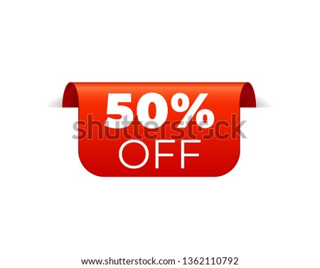 Red Vector Banner Ribbon on white background, top bookmark. 50 percent off