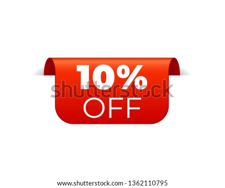 Red Vector Banner Ribbon on white background, top bookmark. 10 percent off