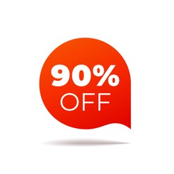 Red Vector Banner speech bubble on white background. 90 percent off