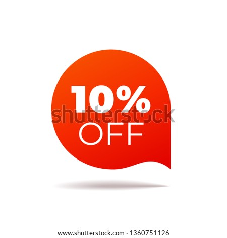 Red Vector Banner speech bubble on white background. 10 percent off