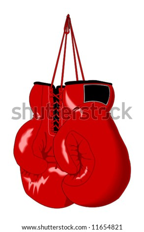 red vector boxing gloves - stock vector