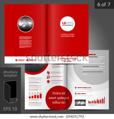 Red vector brochure template design with round element