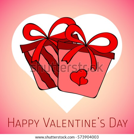 red vector card with gifts on