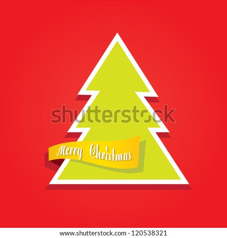 red vector christmas background. cut paper design. vector christmas tree with ribbon. xmas card. - stock vector