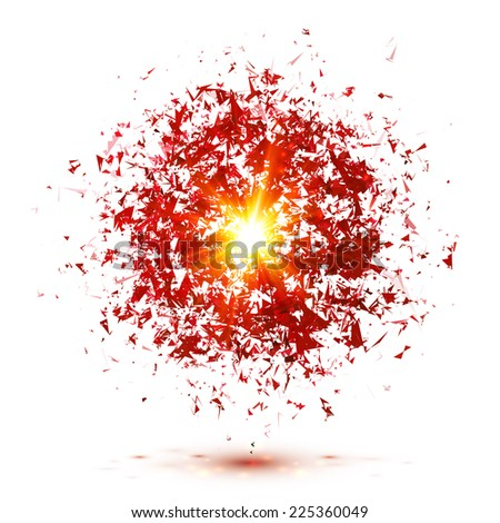 Red vector explosion isolated on white background