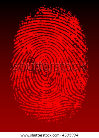 Red Vector Fingerprint on a black faded background - Very accurately scanned and traced (Vector is transparent so it can be overlaid on other images, vectors etc.)