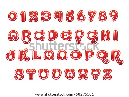 red vector font set