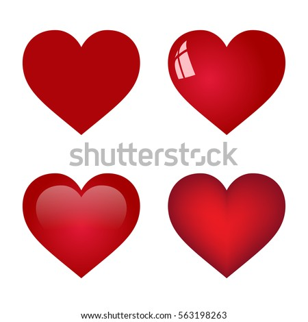 red vector heart collection on