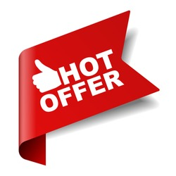 red vector illustration banner hot offer