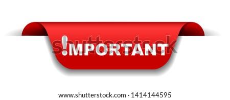 red vector illustration banner important Stock fotó ©