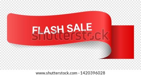 Red Vector Illustration Sign Flash Sale. Illustrations For Promotion Marketing For Prints And Posters, Menu Design, Shop Cards, Cafe, Restaurant Badges, Tags, Packaging etc. eps 10