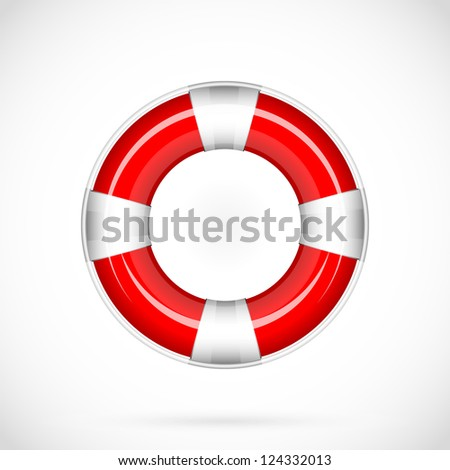 Red vector life belt. Isolated - stock vector