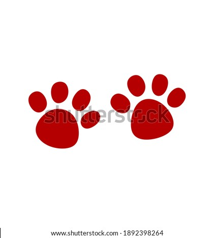 Red Vector Paw Print Silhouette Icon Drawing.Footprint,foot, footstep, animal paw mark,claw, Pet,dog,pets,doggy,kitty,puppy,pup,cat.Sticker.Paw prints pair.
