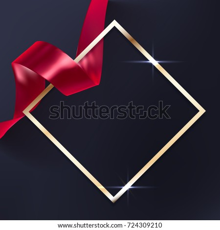 Red vector ribbon and elegant golden frame on black background, luxury banner template. Award ceremony background.