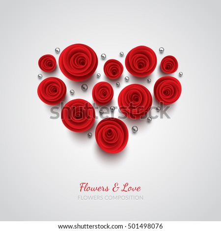 red vector roses and hearts