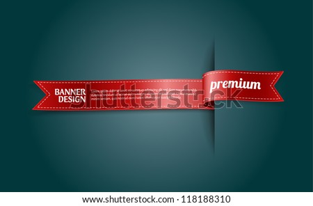 "Red vector silky ribbon banner / tag ""Premium"""