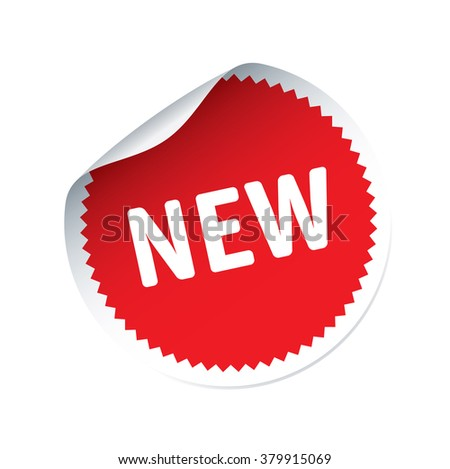 Red vector sticker and text NEW
