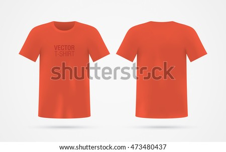 Red Vector T Shirt Template Isolated On Background Mens Realistic