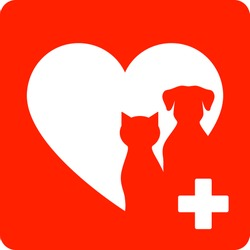 red veterinary sign with heart and pet