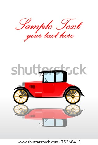 Red vintage car - stock vector