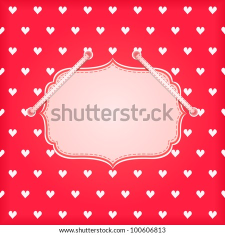 Red Vintage Card with White Hearts and Blank Space