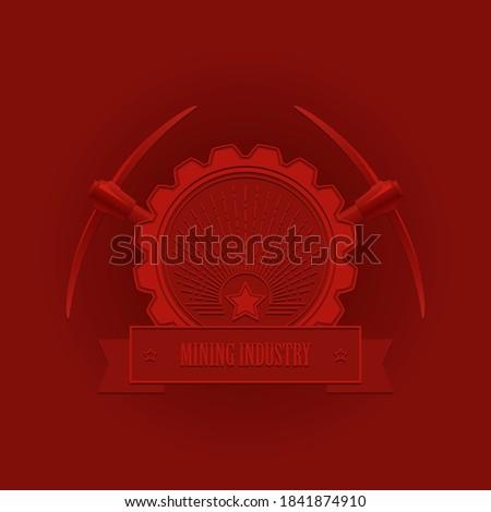 red vintage emblem of the