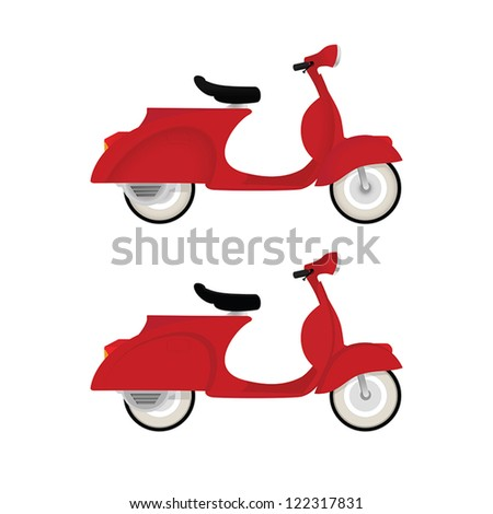 Red vintage motor bike isolated on white background - stock vector