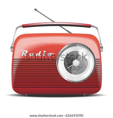 Red Vintage Radio. Vector illustration