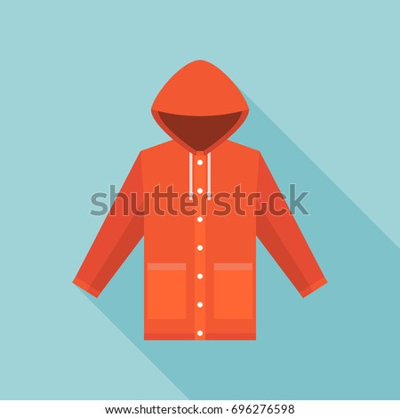 red vintage raincoat icon in flat design with long shadow