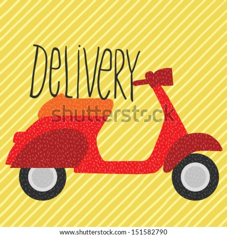 red vintage scooter  delivery