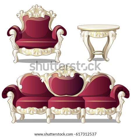 Red vintage upholstered sofa, chair, carved wood round table. Furniture for interior vintage style isolated on a white background. Cartoon vector close-up illustration.