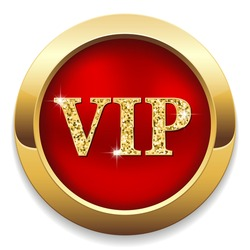 Red vip button with gold border on white background