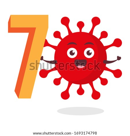 red virus corona kawaii vector