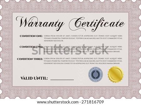 Red warranty certificate template