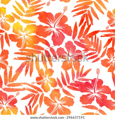 red watercolor vector hibiscus