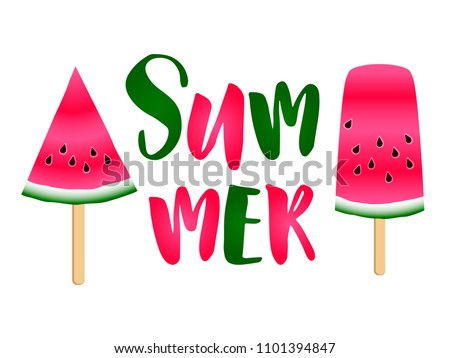 Red watermelon slices ice cream and summer text vector print illustration. Vitamin food element for summer diet. Simple red and green water melon fruit objects. Summer nutrition watermelon dessert.