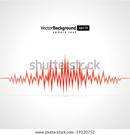 Red waveform vector background