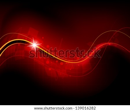 Red wavy background with spark and geometric pattern - stock vector