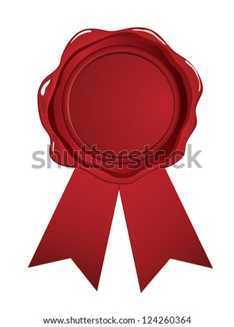 Red wax seal ribbon on white