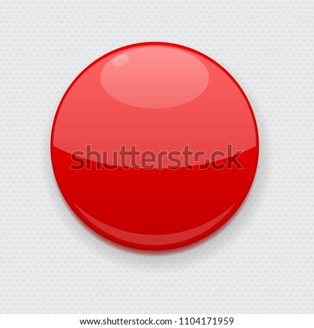 Red web button on gray background. Round 3d icon. Vector illustration