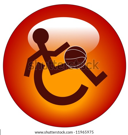 red web button or icon for handicap sports or participation - vector