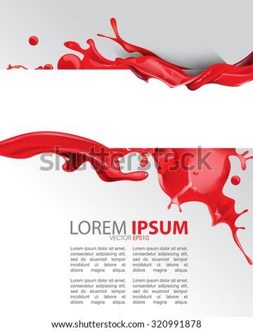 red wet ink splatter paint