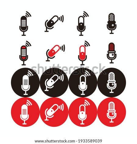 red, white and black capsule microphone icon and silhouette set - capsule microphone set with lightning and connection sign for broadcast or podcast isolated on white, black and red circle ストックフォト ©