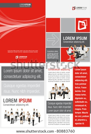 Red ,white and black template for advertising brochure with business people - stock vector