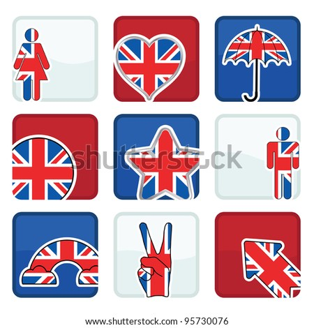 red, white and blue icons with great britain motifs, with clipping masks