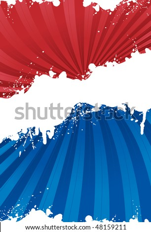 Red, white and blue patriotic background with grunge line