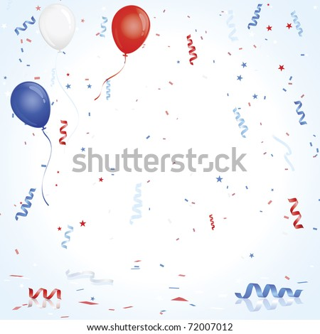 Red White Blue balloons and confetti